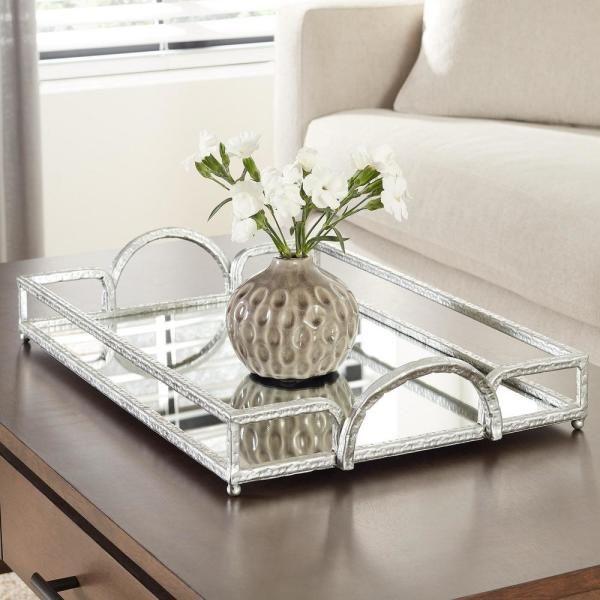 Coffee Table Decor Tray, Silver Mirror Tray Decor