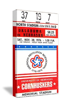 OU vs. Nebraska. 1976 in Lincoln. The phrase Sooner Magic was used for the first time. Perfect Oklahoma football art for a game room or office. http://www.shop.47straightposters.com/1976-Oklahoma-vs-Nebraska-Football-Ticket-Art-76OU-NB.htm