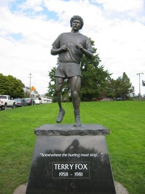 At Mile Zero in Victoria BC, you'll find the Terry Fox Memorial. Fox lost his right leg to cancer when he was only 18 years old. In an effort to raise money for cancer research, he began what was to be a cross-country run across Canada. He started in Newfoundland, and planned to finish in Victoria at Mile 0. Unfortunately, Terry never reached his dream. He made it halfway through Ontario before chest pains forced him to stop and go to the hospital. The cancer had spread to his lungs. He…