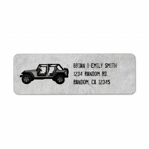 Silver Jeep four door return address labels