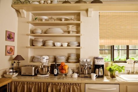 "Inspiration - The kitchen from the movie ""It's Complicated"" ... just love these open shelves!"