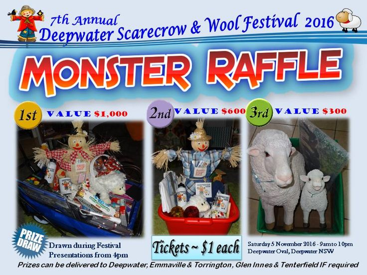 Our 2016 Monster Raffle consists of items kindly donated by our generous sponsors from Deepwater, Emmaville, Glen Innes & Tenterfield NSW - tickets available at the festival - drawn at festival presentations from 4pm Saturday 5 Nov
