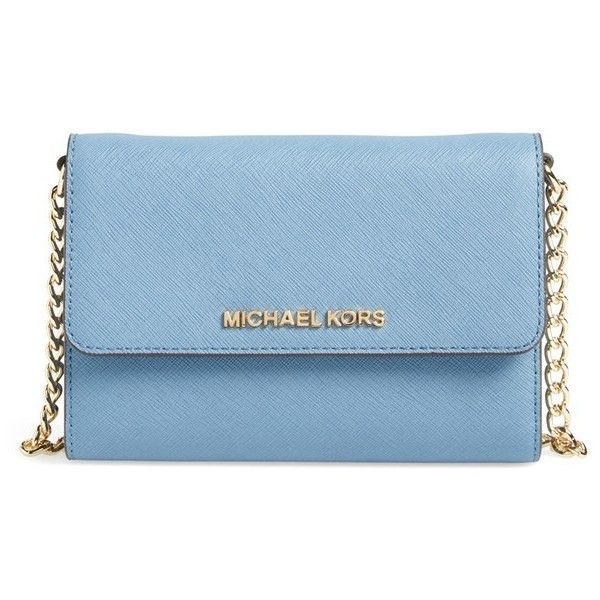 MICHAEL Michael Kors 'Jet Set - Large Phone' Saffiano Leather... (360 BRL) ❤ liked on Polyvore featuring bags, handbags, shoulder bags, cornflower, chain strap purse, michael michael kors, blue cross body purse, chain shoulder bag and blue shoulder bag