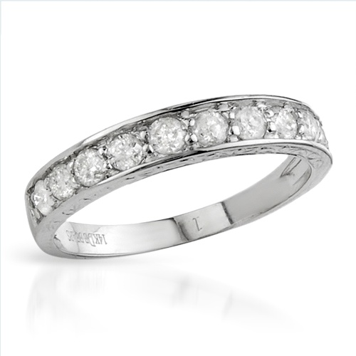 $449.00  Dazzling Brand New Ring With 0.60ctw Genuine  Diamonds Crafted in 14K White Gold- Size 7 - Certificate Available.
