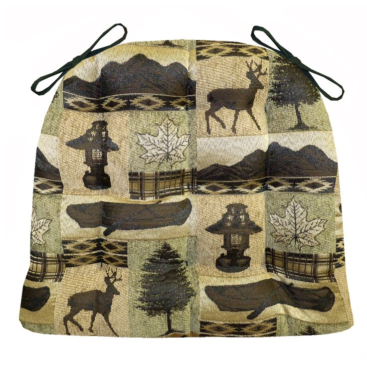 Great Cabin And Wildlife Collages In Three Patterns Bring Outdoor Style To These  Tufted Chair Pads Made