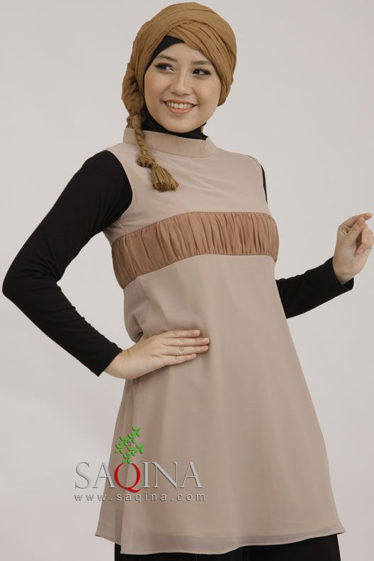 stay calm with soft brown blouse by Saqina