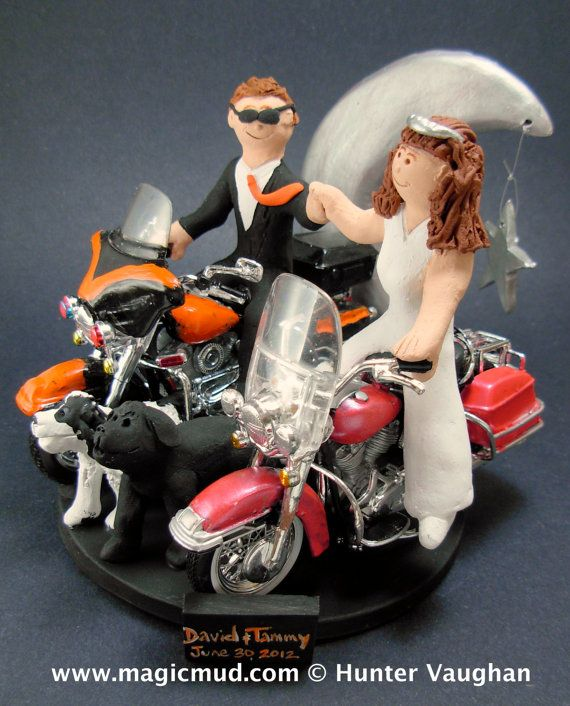 Bride and Groom Riding Harley-Davidson Motorcycles Wedding Cake Topper,        Custom Made to your specifications. Made just for your wedding day! Both the bride and groom are riding their own harley motorcycles!!    any style of motorcycle can be incorporated,,,a dirt bike, road bike, sport bike, Honda, Suzuki,Yamaha, Kawasaki  #magicmud, $235   1800 231 9814  www.magicmud.com