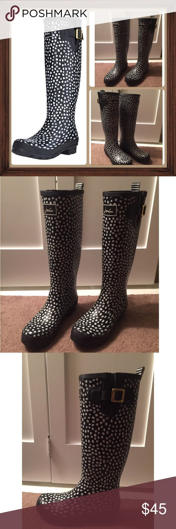 Beautiful Joules Welly rain boots size 8 tall These boots are just like new, I have only worn them two times. I am sad to sell but i have short boots and i just haven't worn these, so I decided to sell. Joules Shoes Winter & Rain Boots