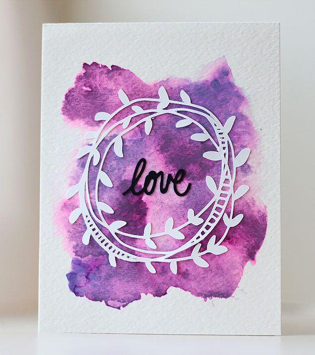 Watercolor Wreath Love Card | Kalyn Kepner for Silhouette