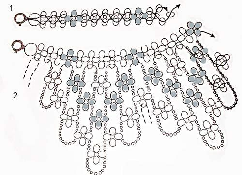 Spring floral dangle necklace - clear schemas but translate instructions  ~ Seed Bead Tutorials
