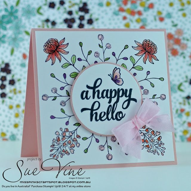 Sue Vine | MissPinksCraftSpot | Stampin' Up!® Australia Order Online 24/7 |2016 Sale-a-Bration Catalogue | Flowering Fields | Handmade Card #stampinup #floweringfields #tinofcards