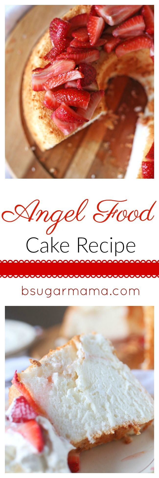 This Angel Food Cake recipe is perfectly sweet, airy, and delicious. Try this Angel Food Cake with an easy strawberry topping for more deliciousness!