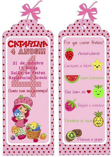 O convite foi um marcador de livro e no verso tinha dicas de alguns benefícios das frutas!  053 by PraGenteMiúda, via Flickr