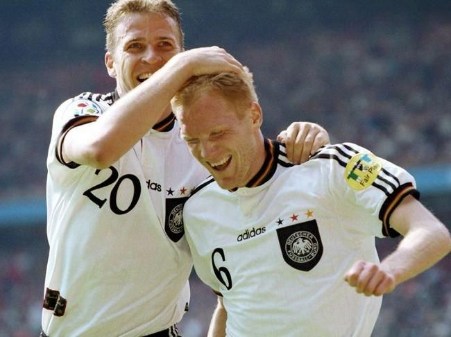 1996 UEFA EURO England : Oliver Bierhoff (Germany, 1996–2002, 70 caps, 37 goals) and Matthias Sammer (Germany, 1990–1997, 51 caps, 8 goals).