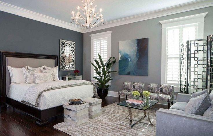 chambre à coucher contemporaine décorée en couleurs fraîches