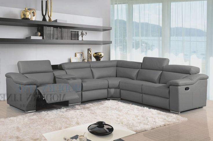 grey leather reclining sectional - Google Search