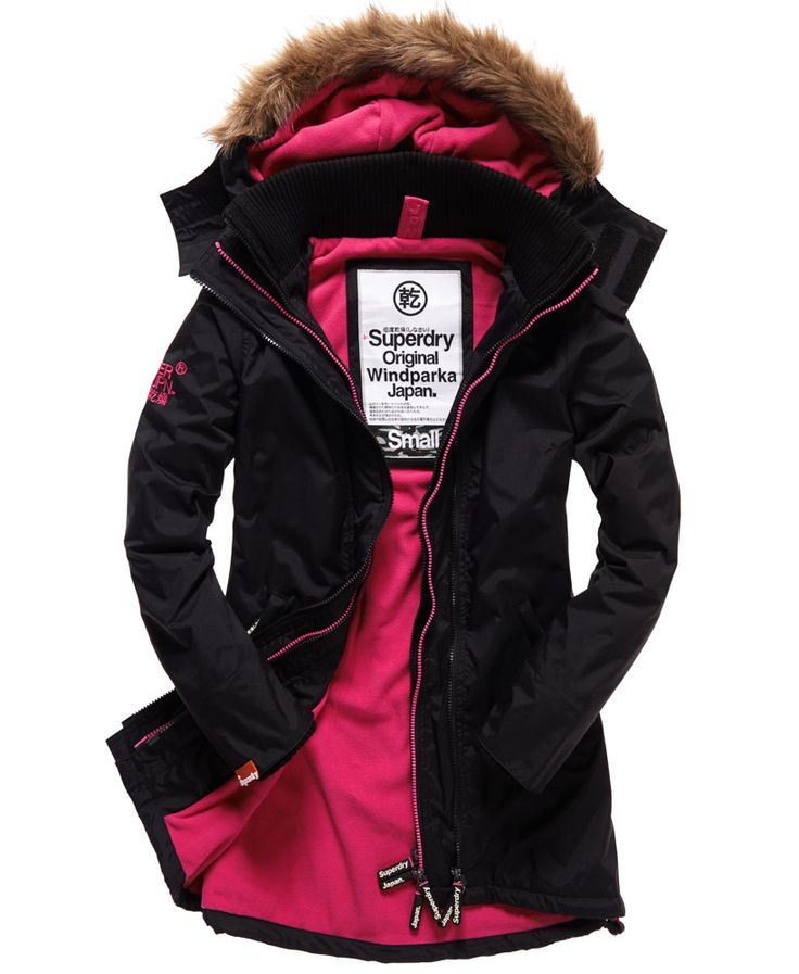 Womens - Pop Zip Wind Parka in Black/punk Pink | Superdry
