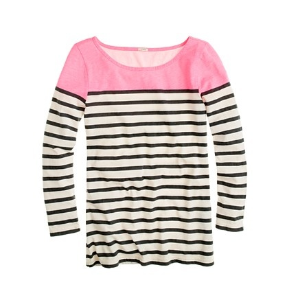 Why is this never in stock!?Fashion, Style, J Crew, Stripes Boatneck, Colorblock Stripes, Jcrew, Neon Pink, Dreams Closets, Boatneck Tees