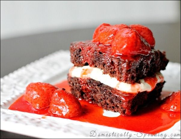 Chocolate Cake with Strawberry Cream Cheese Filling and Strawberry Toppings