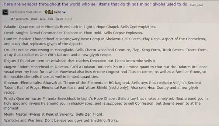 Minor non-Glyphs - Legion WoW 7.x