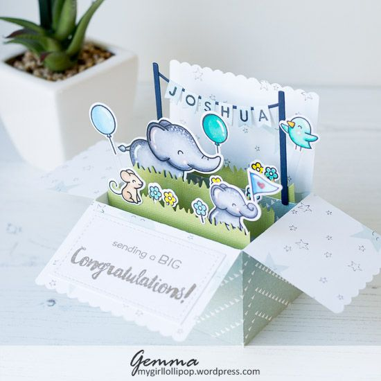 I've been having great fun with the Lawn Fawn Scalloped Box Card Pop Up die set. Today I'm sharing a new baby card I made using it.        ...