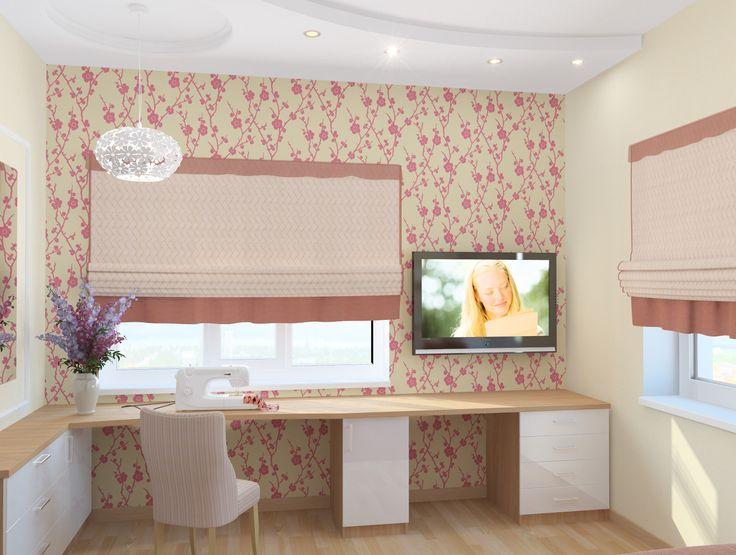 Дизайн спальни в коттедже, вариант 1, ракурс 1