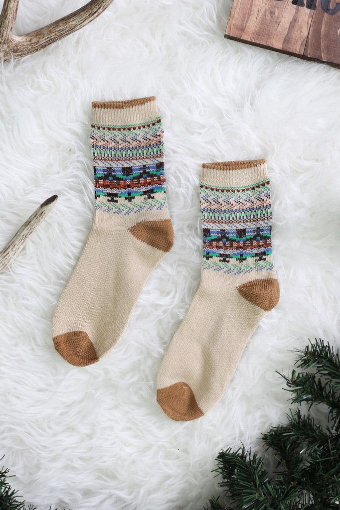 Winter Print Crew Socks | UOIonline.com: Women's Clothing Boutique
