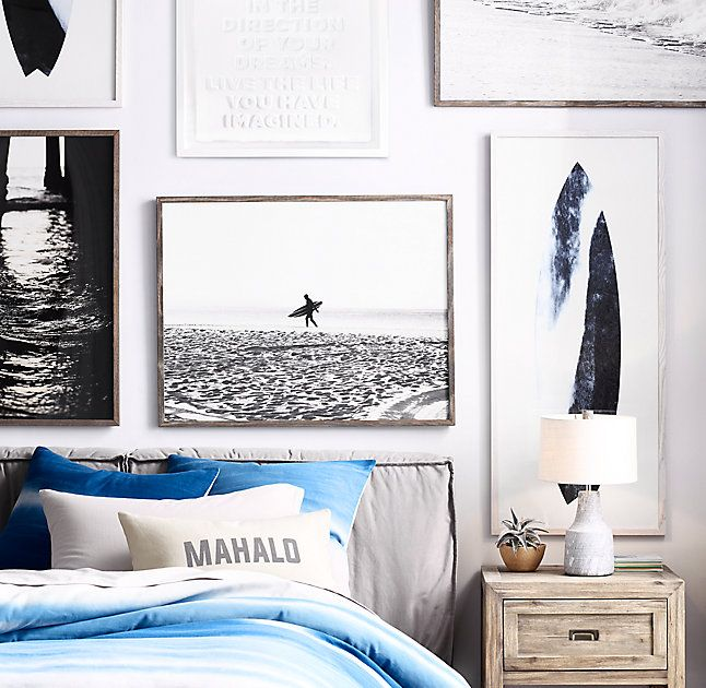 Beach Photography, gallery wall, kids room, boys room, teenager, surfer, art, restoration hardware