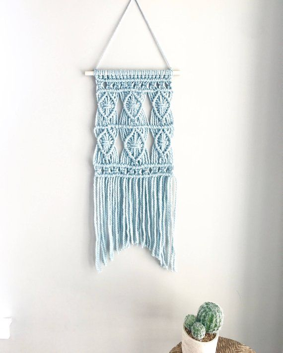 Blue Wall Hanging Macrame Tapestry