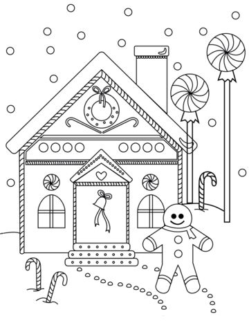 Gingerbread Man near the House Coloring page House