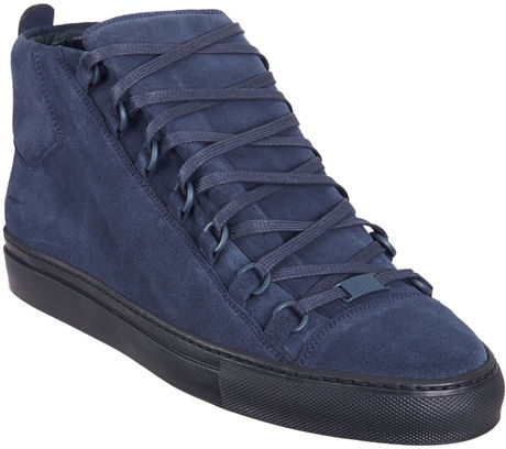 Balenciaga Navy Suede Arena hightop sneakers