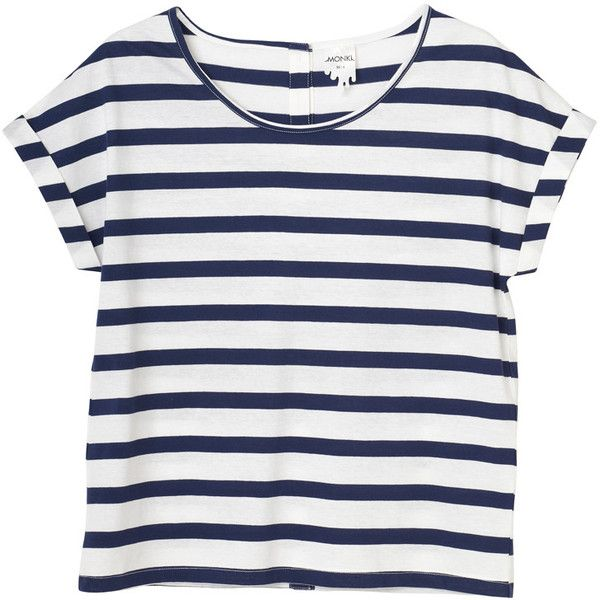 Samira top ($20) ❤ liked on Polyvore featuring tops, t-shirts, shirts, tees, women, striped top, stripe shirt, cotton t shirt, stripe tee and striped cotton tee