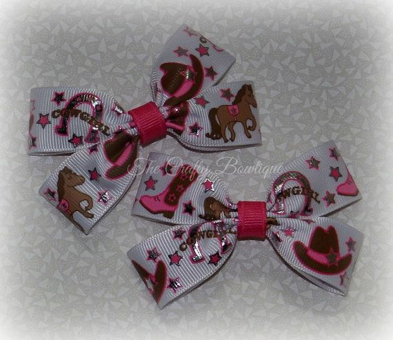 Cowgirl Hair Bows ~ Western Hair Bows ~ Rodeo Hair Bows ~ Small Pink Bows ~ Cowgirl Clippies ~ Rodeo Pigtails ~ Matching Girls