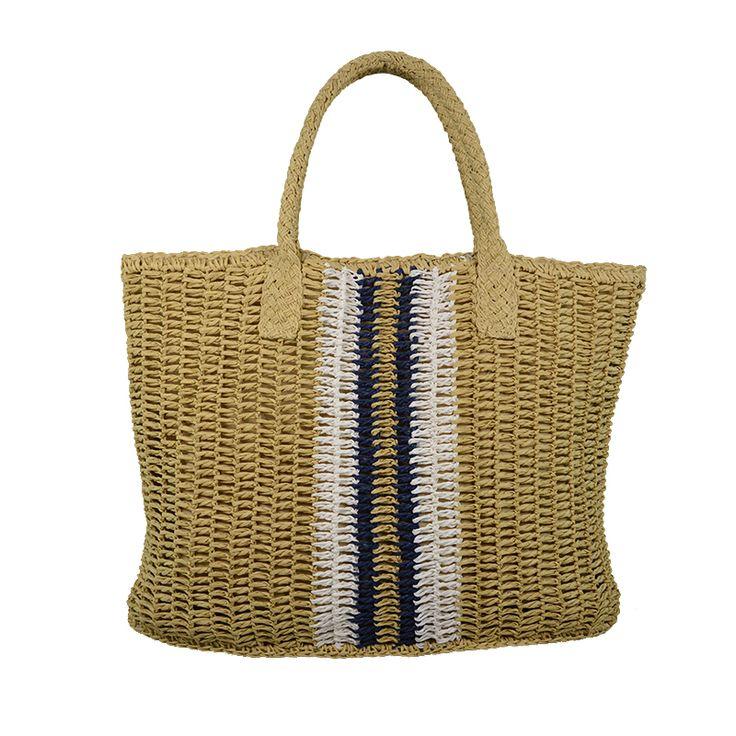 A striped fashion straw bag in woven straw