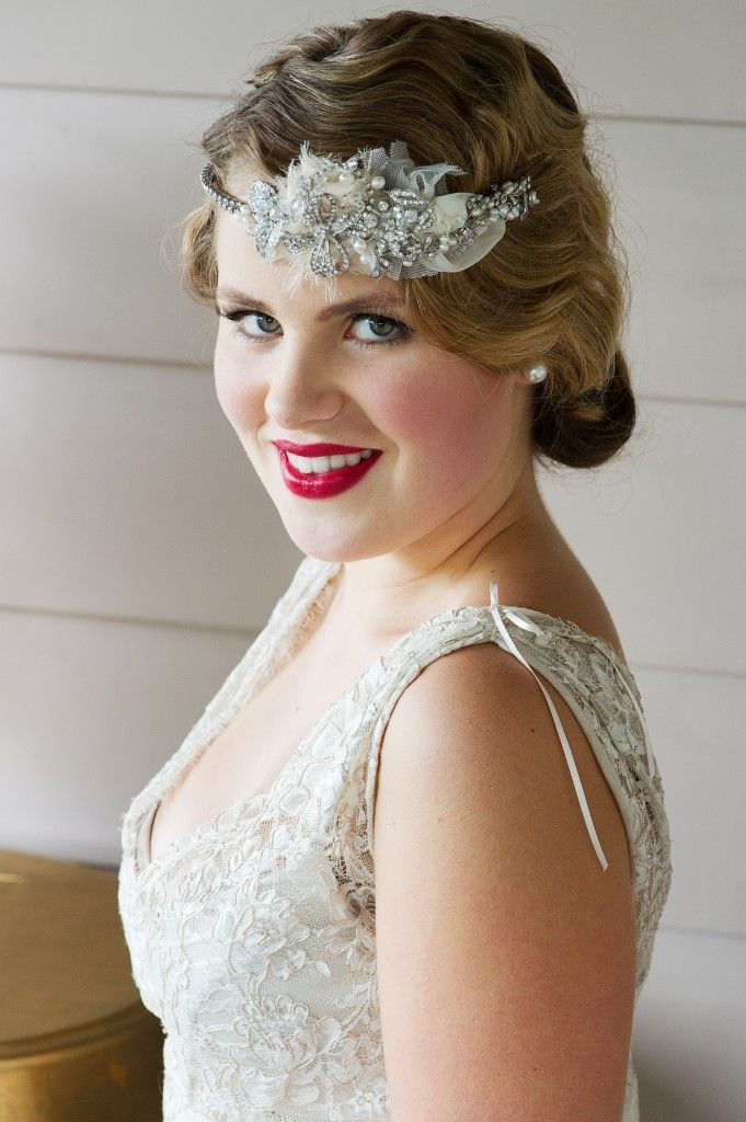 Vintage Hair and Makeup with stunning headpiece