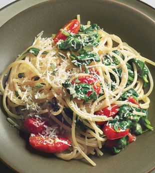 Quinoa Pasta with Spinach and Tomatoes  Gluten-free pasta, made with corn flour protein-rich quinoa, delivers good texture and flavor, and is just as satisfying as traditional wheat pasta.