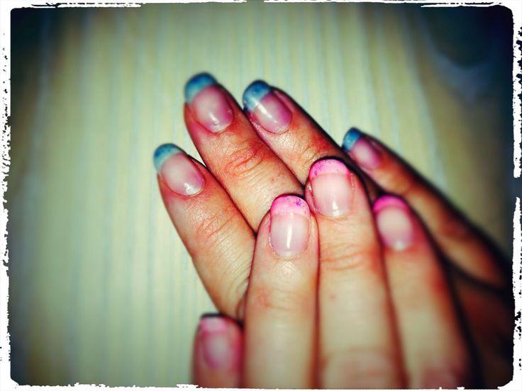 Pink & Blue nails