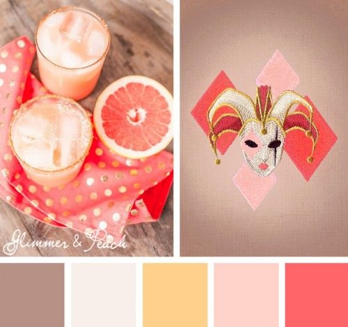 Try out this elegantly glam Glimmer & Peach color scheme on your embroidery designs.