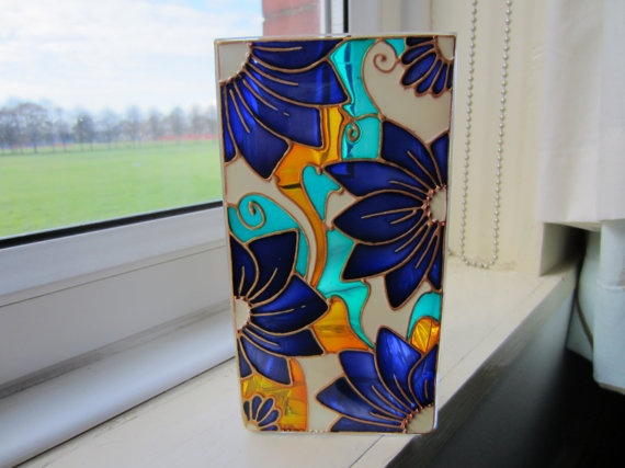 Unique Hand Painted Glass Vase/Candle Holder by ASplashofColour1, £16.00