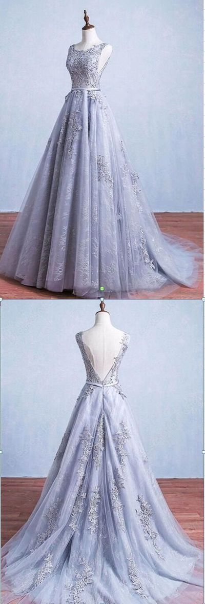 Blue Lace Long A-line Cheap Popular Mermaid Lace Wedding Dresses, D0046 by Dressmelody