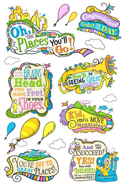 Eureka, Dr. Seuss™ Oh, the Places You'll Go! Bulletin Board Set, 27 Pieces