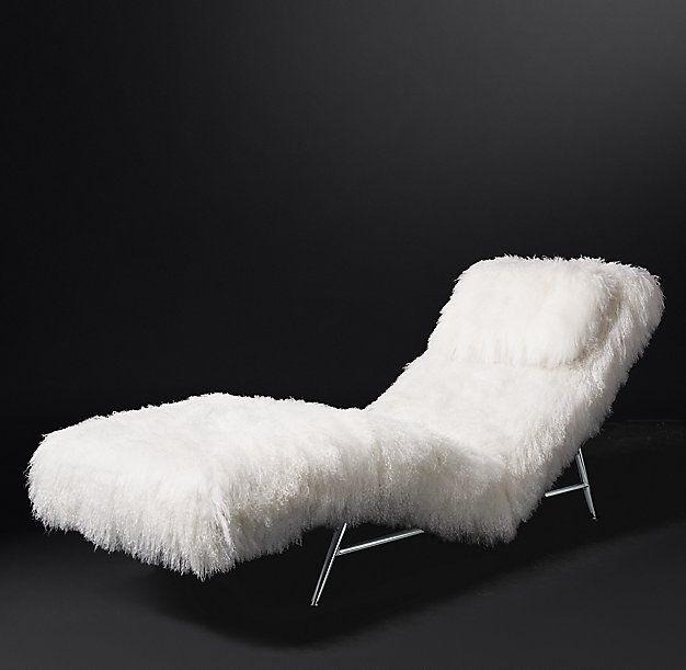 milo baughman model 149 tibetan wool chaise