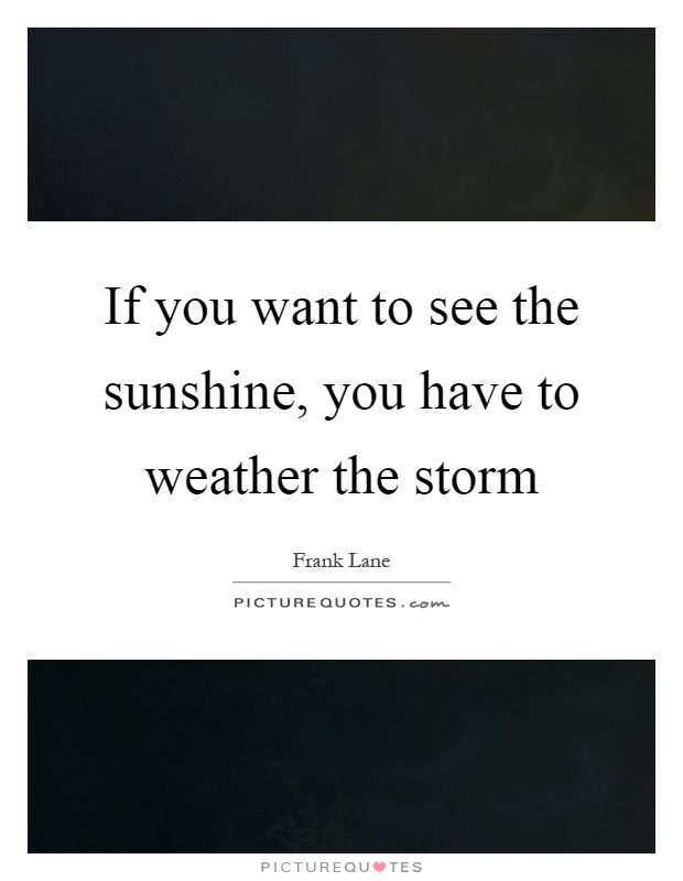 If you want to see the sunshine, you have to weather the storm. Rainy day quotes on PictureQuotes.com.
