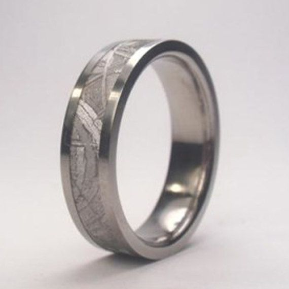 meteorite ring meteorite wedding band titanium by jewelrybyjohan - Meteorite Wedding Rings