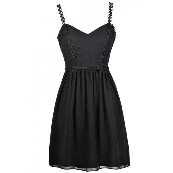 Little Black Sundress (£30) ❤ liked on Polyvore featuring dresses, chiffon cocktail dress, strappy dress, empire waist chiffon dress, empire waist cocktail dresses and lbd dress