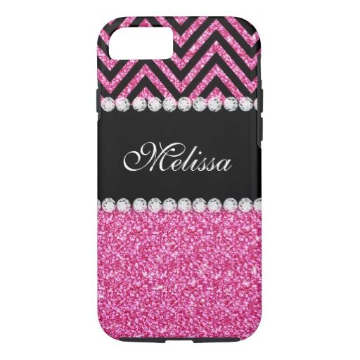 Pink Glitter Black Chevron Monogram Name iPhone 7 Case