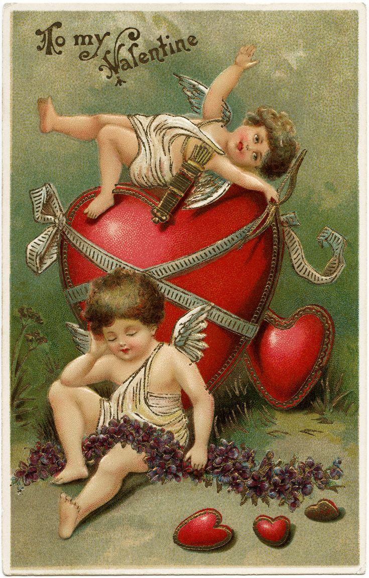 vintage valentine postcard, cherubs and hearts clip art, old fashioned valentine card, vintage cupid illustration, printable valentines day card