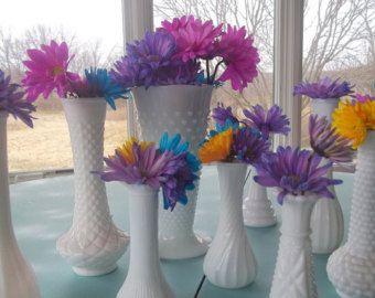 Collection of 5 Vintage Milk Glass Bud Vase, Shabby Chic, Wedding Decoration, Table Setting, Housewares, White
