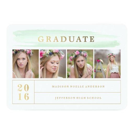 Watercolor Stroke Mint Graduation Invitation