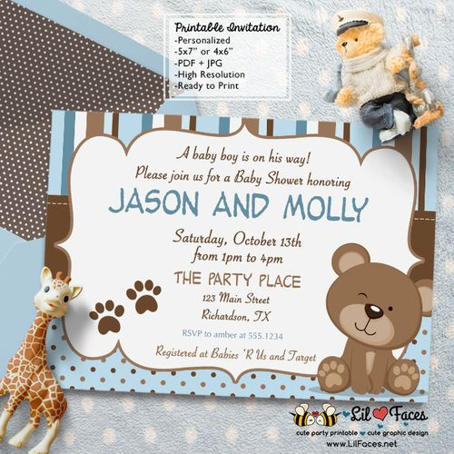 Blue and Brown Teddy Bear Baby Shower Invitation - Blue and Brown Teddy Bear Baby Shower Theme Printable DIY Invitation- Personalized Invite card DIY party printables will save you time and money while making your planning a snap!